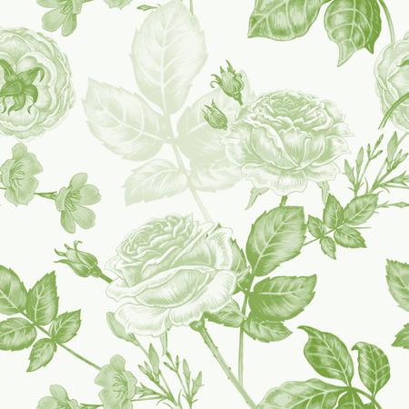 flower decoration: Vector seamless background. Flowers. Roses. Design for fabrics, textiles, paper, wallpaper, web. Vintage style. Floral ornament. Illustration
