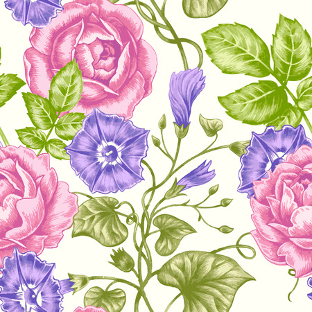 bindweed: Vector seamless background. Design for fabrics, textiles, paper, wallpaper, web. Bindweed, rose. Retro. Vintage style.