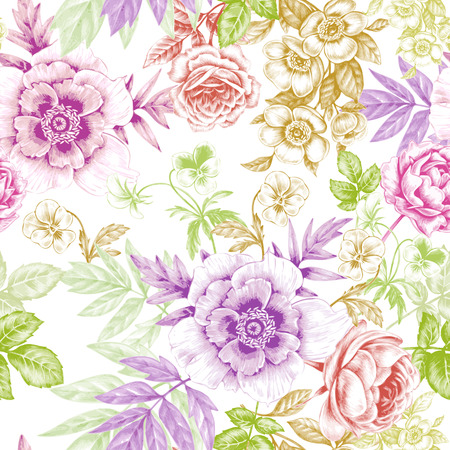 victorian wallpaper: Vector seamless background. Rose, peony. Design for fabrics, textiles, paper, wallpaper, web. Retro. Vintage. Floral ornament. Victorian style. Illustration