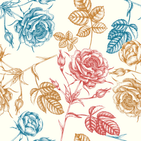 victorian wallpaper: Floral seamless pattern. Flowers roses, peonies. Design paper, wallpaper, cards, invitations, packaging, textiles, interior decoration, upholstery fabrics. Vector. Victorian. Illustration