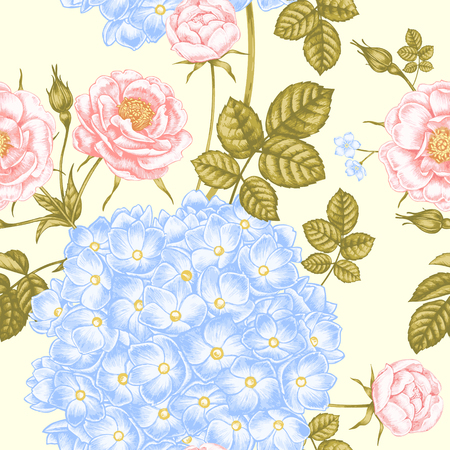 botanical garden: Seamless background for textile, paper, web, tissue. Illustration flowers in the Victorian style. Hydrangea and roses . Vector.