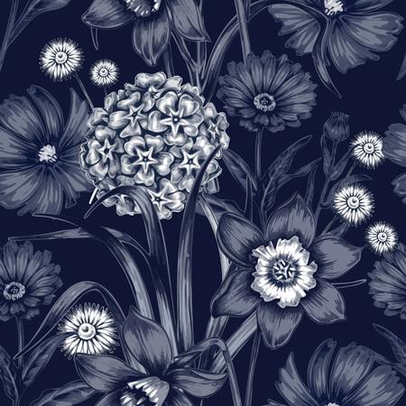 ベクターのシームレスなパターン。生地、織物、紙、壁紙、web ページ、結婚式の招待のための背景。ビンテージ スタイルです。花の飾り。