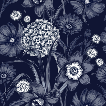 Vector seamless pattern. Background for for fabrics, textiles, paper, wallpaper, web pages, wedding invitations. Vintage style. Floral ornament. Illustration