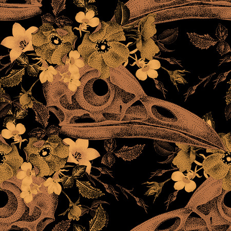 Seamless vector pattern of golden flowers and birds skulls on a black background. Garden flowers rose, bell. Illustration in the oriental style of flowers. Vintage.