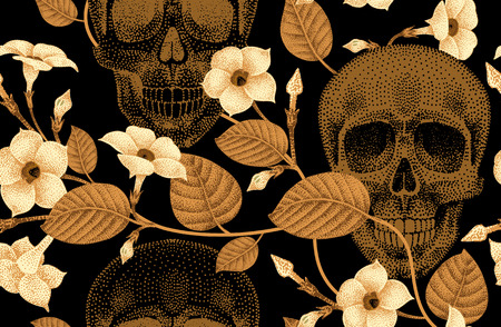 guts: Template pattern of human skulls and flowers seamless vector. Vintage. Human skulls and devils guts on  black background. Illustration of gold human skulls and plants. Designed on the theme of death.