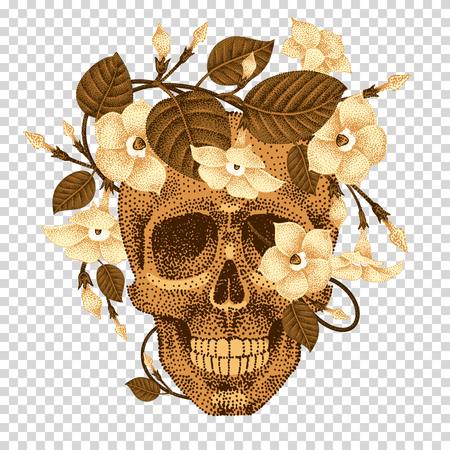 guts: Dead head with a wreath of ivy flowers isolated on transparent background. Vector illustration of human skull and plants devil guts. Current trend print with gold foil. Composition natural elements.