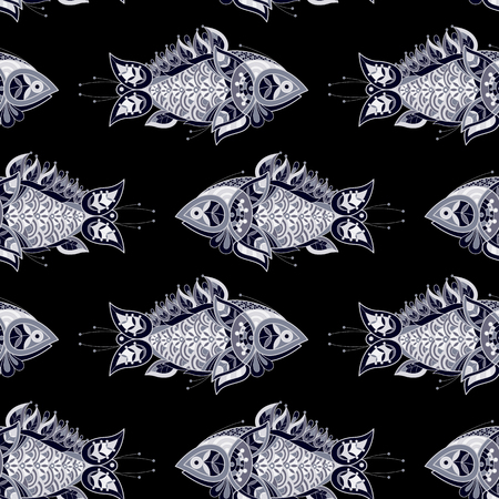 decorative fish: Illustration vector seamless pattern. Decorative fish on a black background.