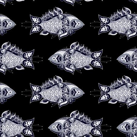 decorative fish: Illustration vector seamless pattern. Decorative fish on a black background.