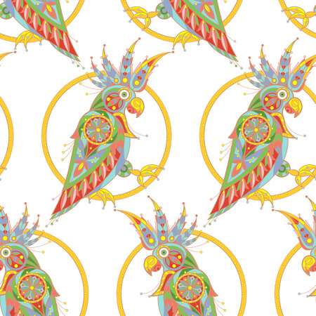 cockatoo: Seamless vector pattern. Decorative birds cockatoo. The illustration on a white background.