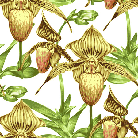 Attractive Pattern With Exotic Tropical Flowers. Orchid. Design For Wallpaper,
