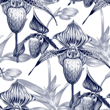 exotica: Seamless vector background. Pattern with exotic tropical flowers. Orchid. Black and white. Design for wallpaper, upholstery fabrics, textiles, paper, packaging.