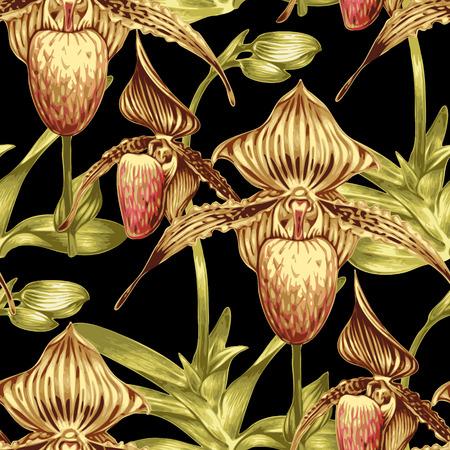 シームレスなベクトルの背景。エキゾチックな熱帯の花とパターン。蘭。壁紙、ファブリック、繊維、紙、包装のデザイン。