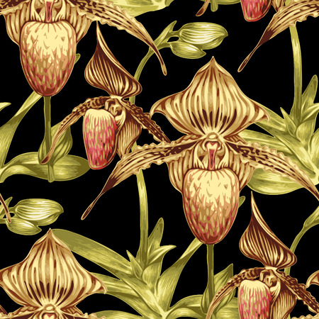 Seamless vector background. Pattern with exotic tropical flowers. Orchid. Design for wallpaper, upholstery fabrics, textiles, paper, packaging. Ilustração