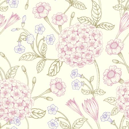 Ilustración perfecta con ramos Victorian gráficos de colores pastel.