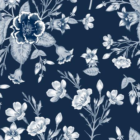 Patrón sin fisuras. Diseño de telas, textiles, papel, papel pintado, tela, tela de tapicería. las flores del jardín. Vendimia. Vector.
