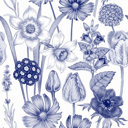 Seamless pattern. Design for fabrics, textiles, paper, wallpaper. Flowers daffodils, tulips, bluebells, primroses, cosmos, lavender. Vintage. Vector. Reklamní fotografie - 56436307