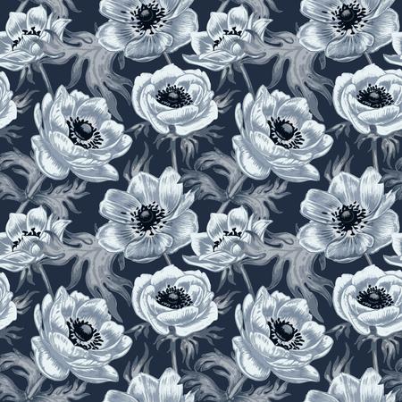 Patrón sin fisuras. Diseño de telas, textiles, papel, papel pintado, tela, tela de tapicería. Flores anémonas. Vendimia. Vector.
