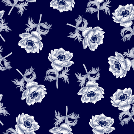 anemones: Seamless pattern. Design for fabrics, textiles, paper, wallpaper, web, upholstery fabric. Flowers anemones. Vintage. Vector. Illustration
