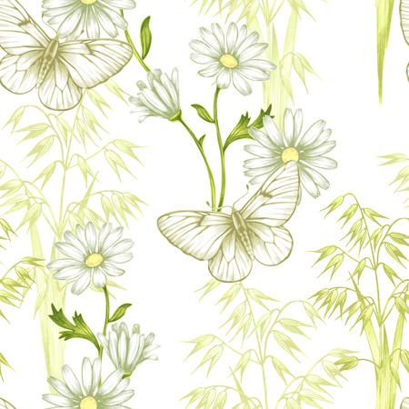 Nahtlose Illustration mit Schmetterlingen und Gräser. Vektor. Hintergrund Papier, Textilien, Verpackungen.