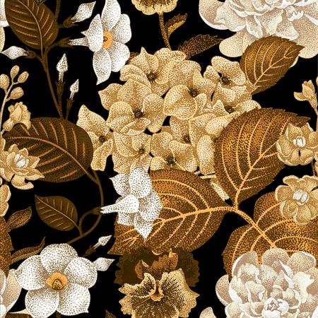 gillyflower: Garden hydrangea flowers, violet, bindweed, gillyflower on a black background. Vector. Seamless floral pattern. Illustration - luxury packaging design template, textile, paper, wallpaper. Illustration