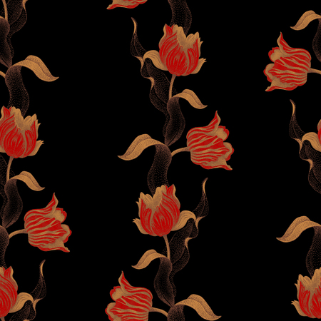branches with leaves: Spring flower tulip. Vector seamless floral pattern. Garden bulbous tulip flower. Illustration - template luxury packaging design, textiles, paper. Gold branches, leaves, flowers on black background.