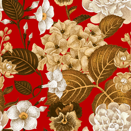 gillyflower: Garden hydrangea flowers, violet, bindweed, gillyflower on red background. Vector. Seamless floral pattern. Illustration - luxury packaging design template, textile, paper, wallpaper.