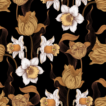 Seamless vector pattern with spring flowers daffodils and tulips. Vector illustration of floral ornament on black background. Designs for fabrics, textiles, wallpaper, wrapping paper. Victorian style. 矢量图像