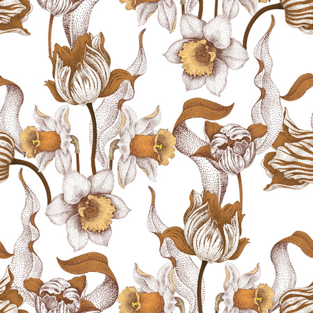 jonquil: Seamless vector pattern with spring flowers daffodils and tulips. Vector illustration of floral ornament on white background. Designs for fabrics, textiles, wallpaper, wrapping paper. Victorian style. Illustration