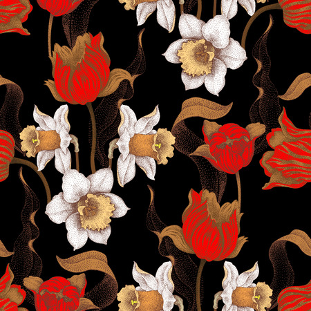 jonquil: Seamless vector pattern with spring flowers daffodils and tulips. Vector illustration of floral ornament on black background. Designs for fabrics, textiles, wallpaper, wrapping paper. Victorian style. Illustration