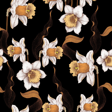 jonquil: Seamless vector pattern with spring flowers daffodils. Vector illustration of floral ornament on black background. Designs for fabrics, textiles, wallpaper, wrapping paper. Victorian style.