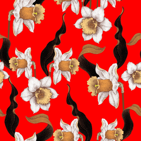 jonquil: Seamless vector pattern with spring flowers daffodils. Vector illustration of floral ornament on red background. Designs for fabrics, textiles, wallpaper, wrapping paper. Victorian style. Illustration