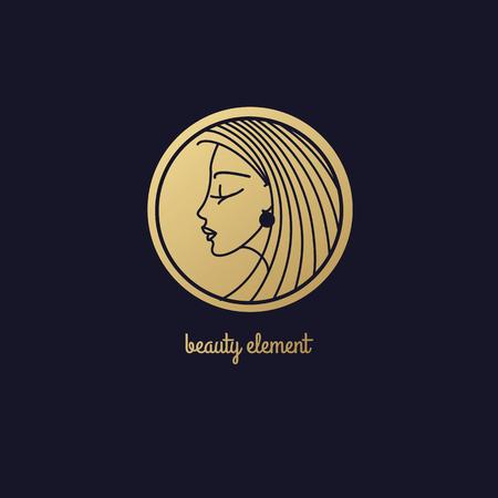 美容院髪の線形スタイルのモダンな美しさシンボルデザイン、黒の背景に金箔化粧品傾向のサークルテンプレート ロゴのパターンで頭の美しい少