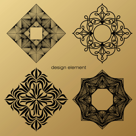 linearity: Set of vector design elements. Template for , icon, symbol, emblem, monogram frame. Linear trend style. Illustration black pattern on gold background. Concept of unusual abstract luxury decor.