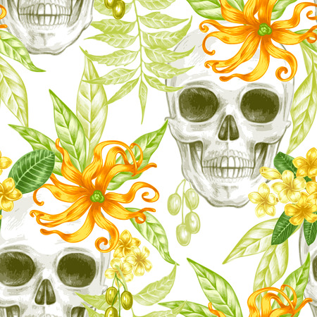 exotica: Vector seamless background. Exotic flowers. Ylang,  palm leaves, skulls. Design for fabrics, textiles, paper, wallpaper, web. Retro. Vintage style. Floral ornament.