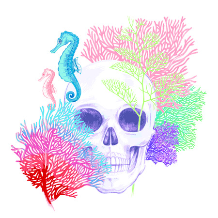 Illustration of the seabed. Seahorses, corals, skull. Vector. Composition isolated on white background.
