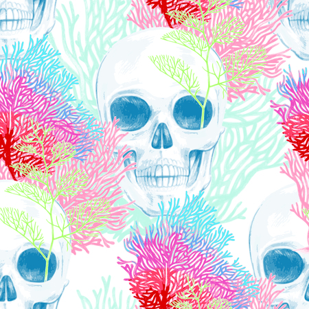 seabed: Illustration of the seabed with a skull and corals. Vector. Seamless background for textile, fabric, paper, wallpaper.