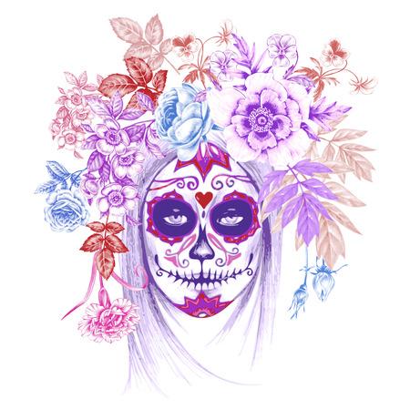 Illustratie op een witte achtergrond. Dag van de Doden. Wijnoogst. Meisje en bloemen. Vektor. Vector Illustratie