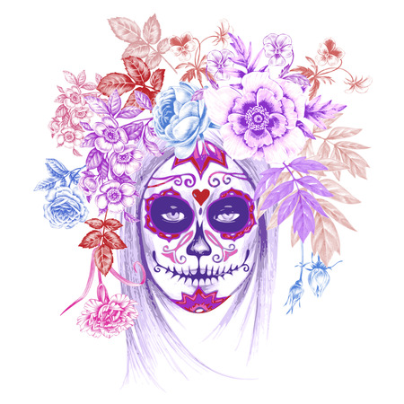 Ilustración sobre fondo blanco. Dia de los Muertos. Vendimia. Muchacha y las flores. Vector. Ilustración de vector