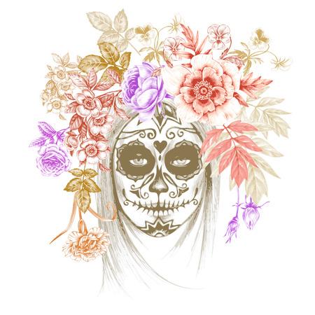Ilustración sobre fondo blanco. Dia de los Muertos. Vendimia. Muchacha y las flores. Vector.