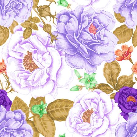 Fondo inconsútil del vector. Diseño de telas, textiles, papel, papel pintado, tela. Rosas, peonías, anémonas, campanillas. Retro. Estilo vintage.