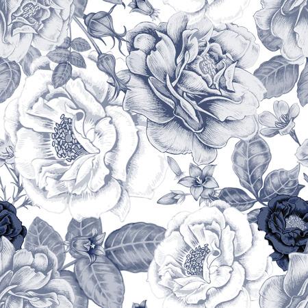 벡터 원활한 배경입니다. 직물, 섬유, 종이, 벽지, 웹 디자인. 장미, 모란, 말미잘, 블루 벨. 레트로. 빈티지 스타일입니다. 꽃 장식입니다. 스톡 콘텐츠 - 59212966