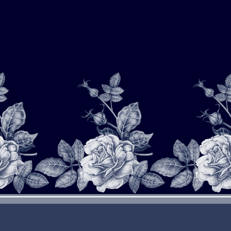 anemones: Vector seamless background. Design for fabrics, textiles, paper, wallpaper, web. Roses, peonies, anemones, bluebells. Retro. Vintage style.