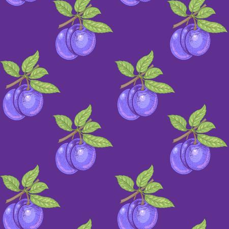 Vektor nahtlose Muster. Zweige mit Blättern und Pflaumen auf einem lila Hintergrund. Illustration für Design Verpackung, Papier, Tapeten, Stoffe, Textilien.