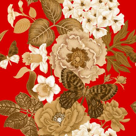 Seamless vector pattern with roses, peonies, daffodils, hydrangea, butterfly. Design of flowers, leaves, insects, vintage style. Oriental floral illustration of lacquer painting on red background.