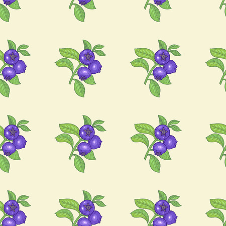 bilberry: Vector seamless pattern. Branches with leaves and bilberry on a light coloured background. Illustration for design packaging, paper, wallpaper, fabrics, textiles.