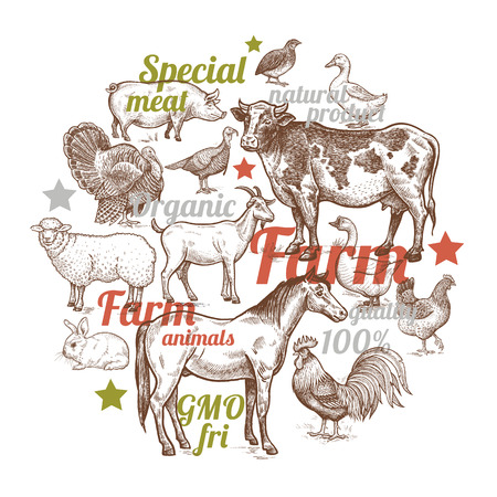 The composition in the circle with farm animals, birds and inscriptions. Designed for shops of farm products, advertising banners, print on bags, packaging, wrapping paper. Vintage