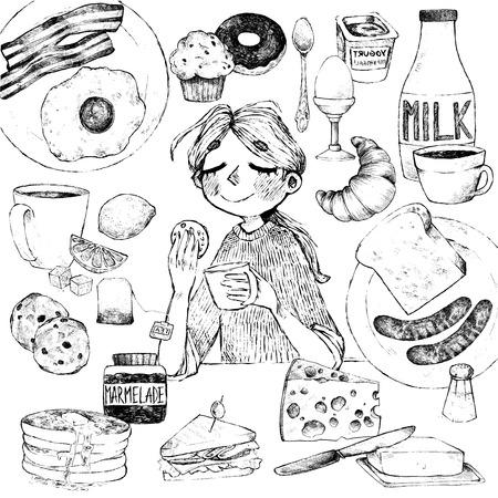 continental food: Vector set. Breakfast. Girl with biscuits, scrambled eggs, bacon, croissant, donut, yogurt, milk, bread, sausages, cheese, butter, sandwich, pancakes, muffins, jam, tea, coffee, eclairs, lemon, salt.