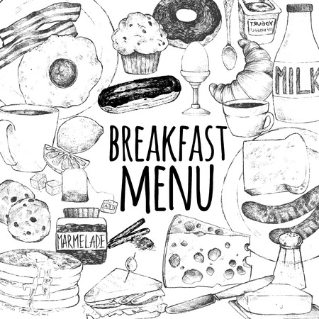 scrambled: Template for breakfast menu design. Vector illustration doodle set. Eggs, bacon, croissant, donut, yogurt, milk, bread, sausages, cheese, butter, sandwich, pancakes, muffins, tea, coffee, eclairs Illustration