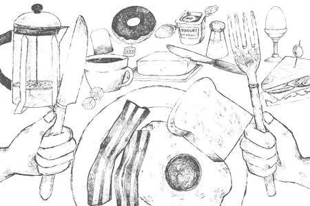 scrambled: Vector illustration of a continental breakfast. Scrambled eggs with bacon, bread, sandwich, egg, butter, croissant, salt, tea and a donut. The poster for the creation of the breakfast menu.