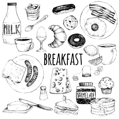 Vector doodle set. Breakfast. Scrambled eggs, bacon, croissant, donut, yogurt, milk, bread, sausages, cheese, butter, sandwich, pancakes, muffins, jam, tea, coffee, eclairs, lemon, salt. Hand drawing.